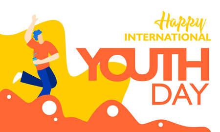 Internationaler Jugendtag, 12. August. mit aktiver und leidenschaftlicher Jugendillustration. auf orangefarbener Wellenform und weißem Hintergrund