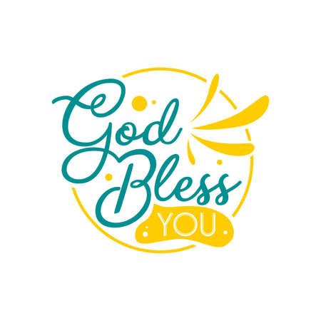 Handgezeichnete Schriftzug-Typografie-Zitate. Gott segne dich. Inspirierendes und motivierendes Vektordesign. Kann für T-Shirt, Poster und Wandkunstdekoration verwendet werden. Vektorgrafik