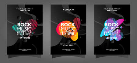 Rock music festival poster template collection with colorful abstract shapes on black background