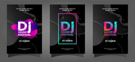 Dj festival poster template collection with colorful abstract shapes on black background Ilustrace
