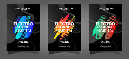 Electro sound music fest poster template collection with colorful abstract shapes on black background