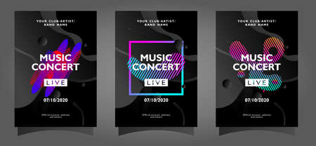 Music concert poster template collection with colorful abstract shapes on black background