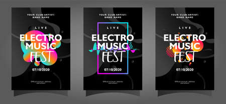 Electro music fest poster template collection with colorful abstract shapes on black background