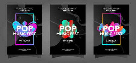 Pop music fest poster template collection with colorful abstract shapes on black background Ilustrace