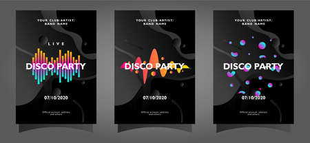 Disco Party poster template collection with colorful abstract shapes on black background