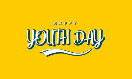 Happy youth day. with typography lettering on yellow background