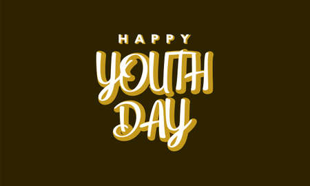Happy youth day. With white typography lettering on brown background Ilustração