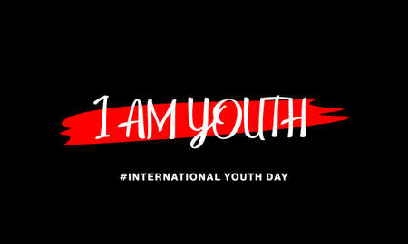 International youth day. with text of I am youth concept with abstract shape on black background.