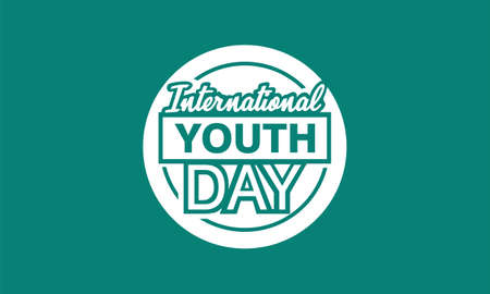 International youth day. with white vintage symbol vector illustration