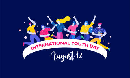 International youth day. August 12. Campaign vector illustration with colorful crowd people