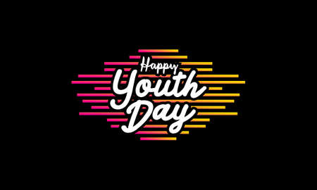 Happy youth day poster. With colorful abstract lines on black background Ilustração