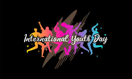 International youth day. Campaign vector illustration with colorful crowd people