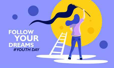 International youth day. With girl standing holding flag. vector illustration,