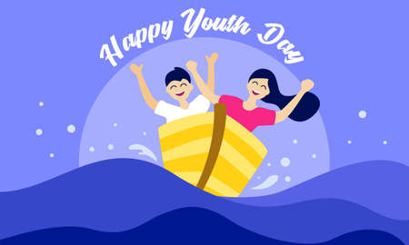 Happy youth day. with two person on boat. Vector illustration