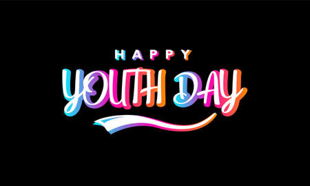 Happy youth day. With colorful typography lettering on black background 矢量图像