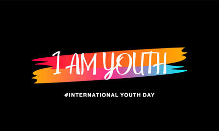 International youth day. with text of I am youth concept with colorful abstract shape on black background. Vector illustration