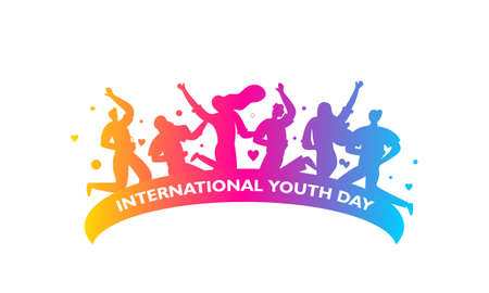 International youth day. banner and poster template. Campaign vector illustration with colorful 矢量图像