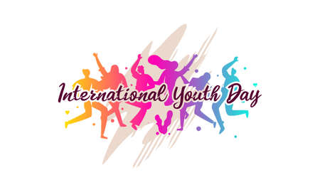 International youth day. Campaign vector illustration with colorful