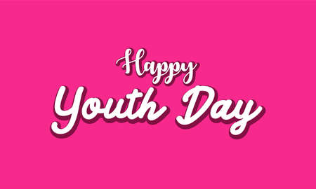 Happy youth day. with typography lettering on pink background
