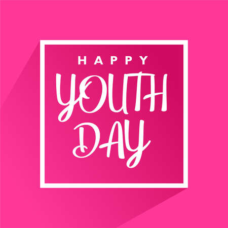 Happy youth day poster. With white frame on pink background