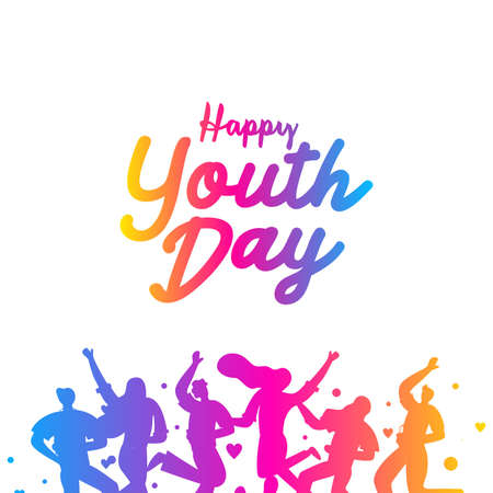 International youth day poster.  campaign vector illustration with colorful