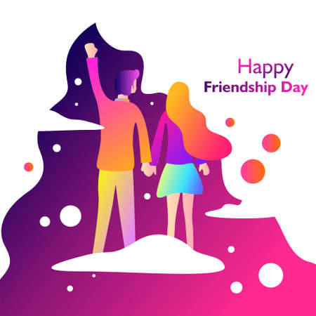 Happy friendship day. With couple standing on the cloud and space. Vector illustration