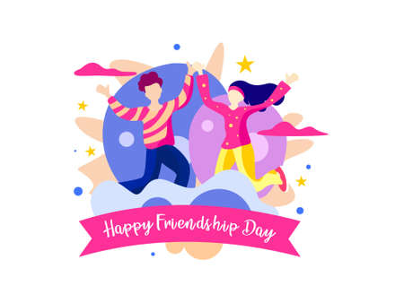 Happy friendship day. With couple is being party. Vector illustration