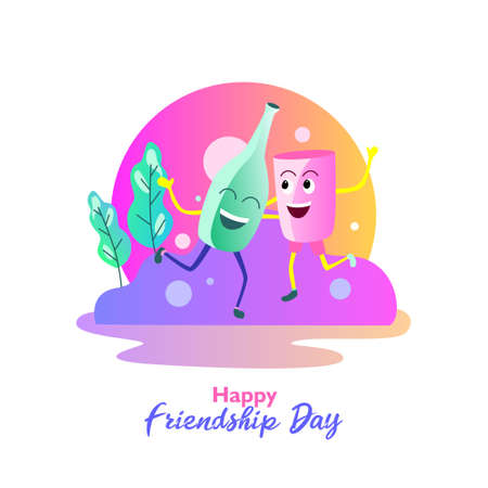 Happy friendship day. With bottle and glass is being dancing. Vector illustration,