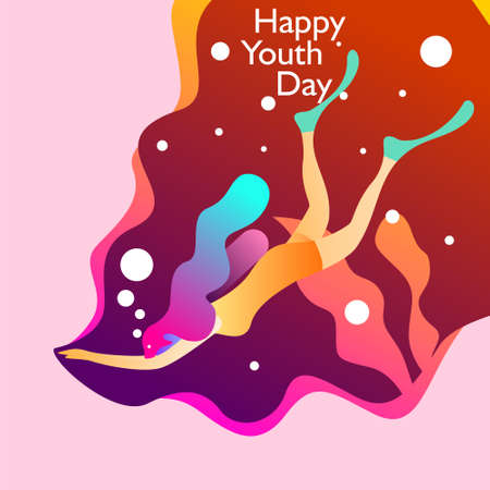 Happy youth day. With girl swimming underwater. Vector illustration