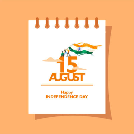 15 august text on the calendar. For logo, icon and symbol of india independence day. Greeting, flyer, message, poster design template. Vector illustration Logo