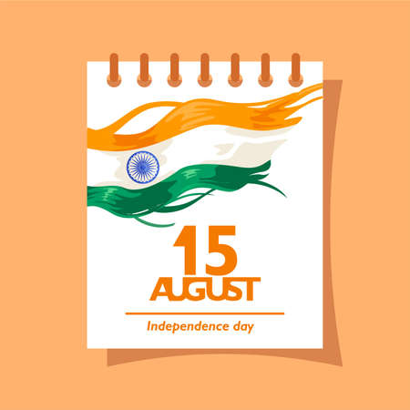 15 august text on the calendar. For logo, icon and symbol of india independence day. Greeting, flyer, message, poster design template. With indian flag fluttering. Vector illustration Ilustrace