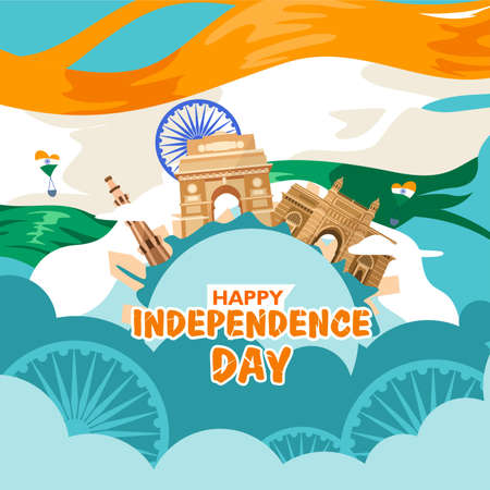 Happy independence day india. For flyer, poster, banner background design. With concept the  heritage building composition, and indian flag fluttering on the cloud. Vector illustration Ilustrace