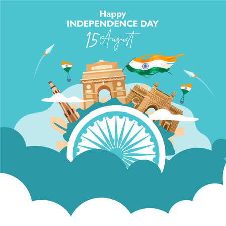 Happy independence day india. 15 august. For flyer, poster, banner background design. With concept the  heritage building composition, and indian flag fluttering on the cloud. Vector illustration Ilustrace