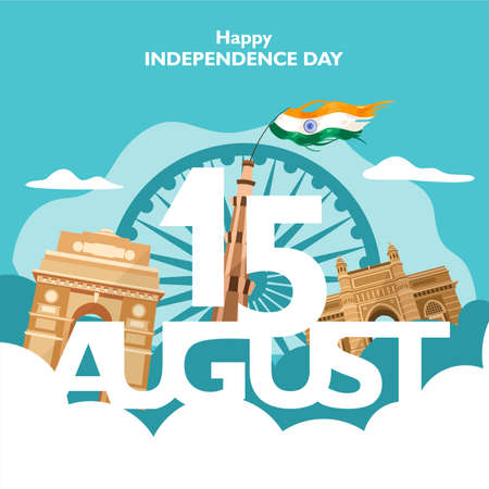 15 august text for india independence day. For flyer, poster, banner background design. With concept the  heritage building composition, and indian flag fluttering on the cloud. Vector illustration