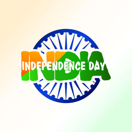 India independence day greeting. symbol and flag color on text. Vector illustration Ilustrace