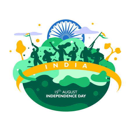 India independence day. 15 th august. indian people, symbol and ribbon flag fluttering on landscape. poster Vector illustration