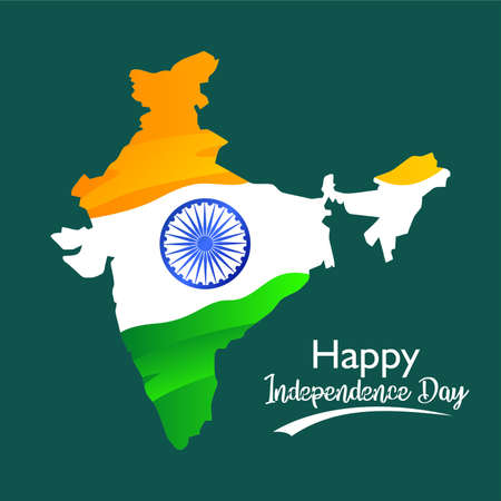 Happy independence day. Flag on india map. For greeting, banner, poster on social media template and others. Vector illustration