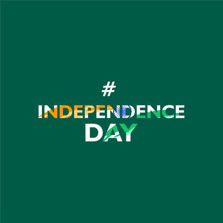 Independence day. India. With abstract indian flag shape on text. Vector illustration Ilustrace