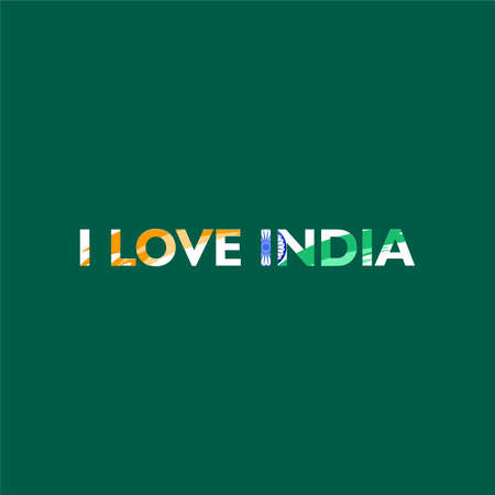 I love india. Said confession. With abstract indian flag shape on text. Vector illustrtion