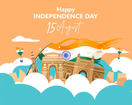 Happy independence day india. 15 august. For flyer, poster, banner background design. With concept the  heritage building composition and indian flag fluttering on the cloud. Vector illustration Ilustrace