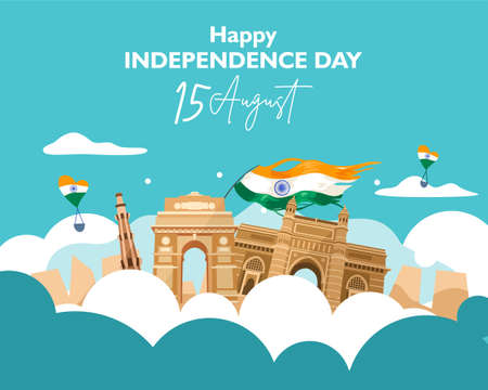 Happy independence day india. 15 august. For flyer, poster, banner background design. With concept the  heritage building composition on the cloud. Vector illustration Ilustrace