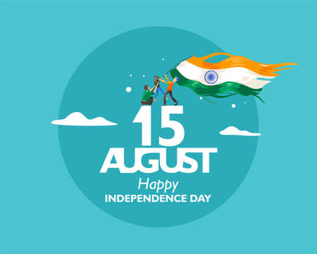 15 august text for india independence day. With concept the indian people holding flag fluttering on the cloud. Vector illustration Ilustrace