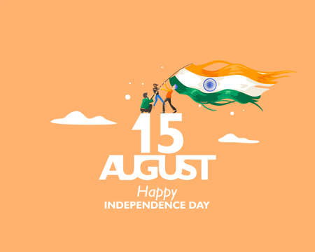 15 August text symbol, logo and icon for India independence day. with indian flag fluttering. For Poster, flyer, banner background design. Vector illustration Ilustrace
