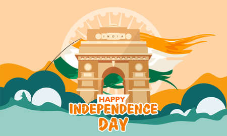 India independence day. with india gate. heritage building. Greeting card, banner and poster template. Vector illustration