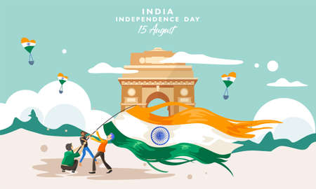 India independence day. 15 august. India gate heritage building. Greeting card, banner and poster template. Campaign people illustration holding indian flag. Vector
