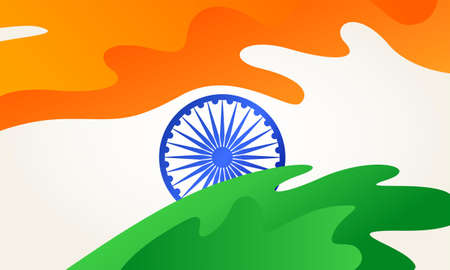 Indian flag with flowing abstract shape. Vector illustration