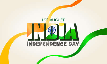 15 August. India independence day. With ribbon flag of india Ilustrace