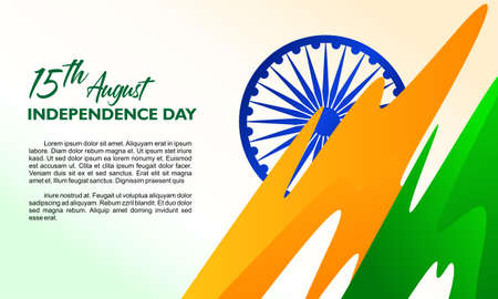 India independence day. 15th august. Symbol and abstract flag. Template for greeting card, poster and banner. Vector illustration