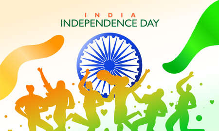 India independence day. Flag fluttering and campaign. For poster, banner and greeting template. Vector illustration