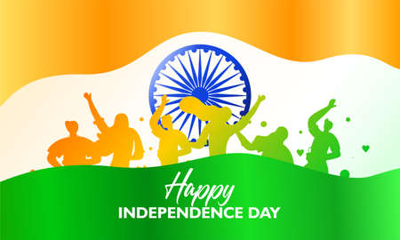 Happy independence day. flag fluttering and Indian society is being party Ilustrace